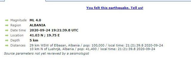 Tjetër lëkundje në Shqipëri, tërmet me magnitudë 4