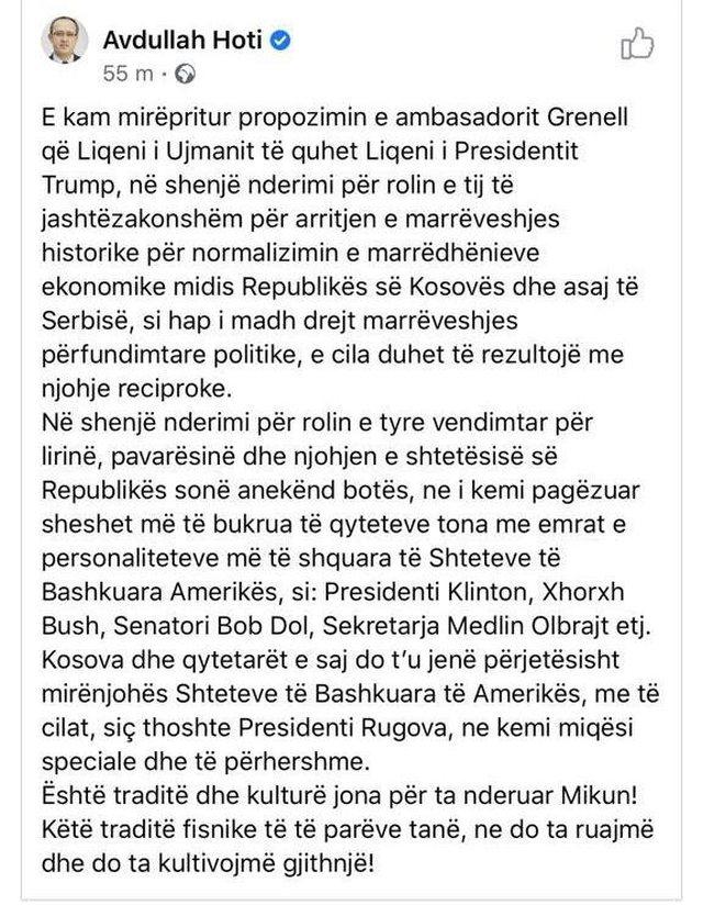 Kryeministri i Kosovës Hoti nën hapat e Xhelal Mziut! Gati të