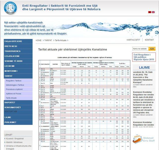 Sa është çmimi i ujit në Tiranë? ERRU: Më
