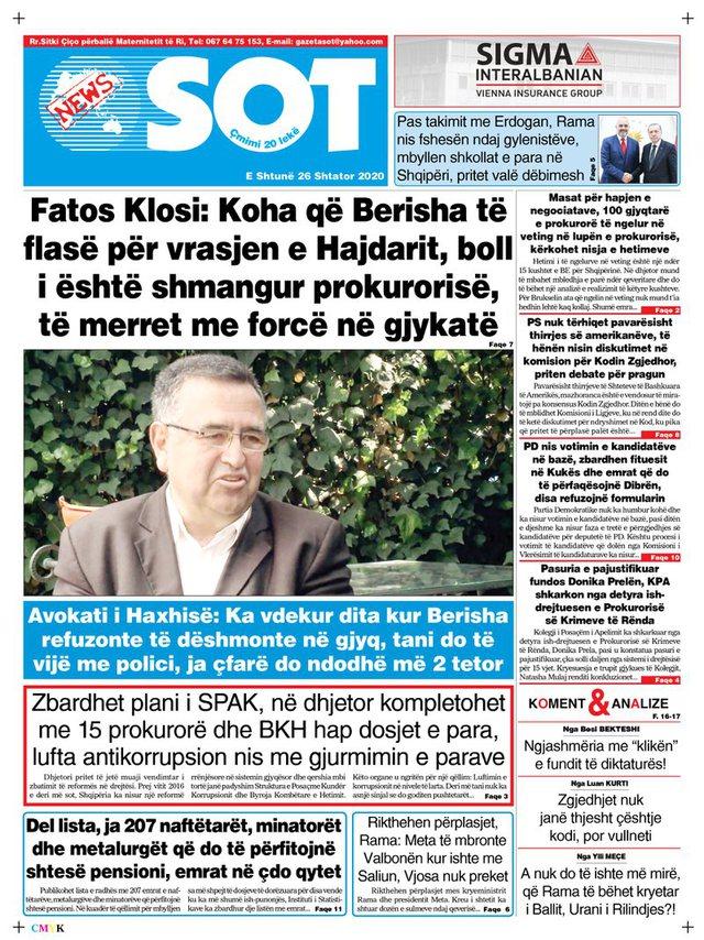 Shtypi/ Titujt kryesorë të gazetave për datën 26 shtator