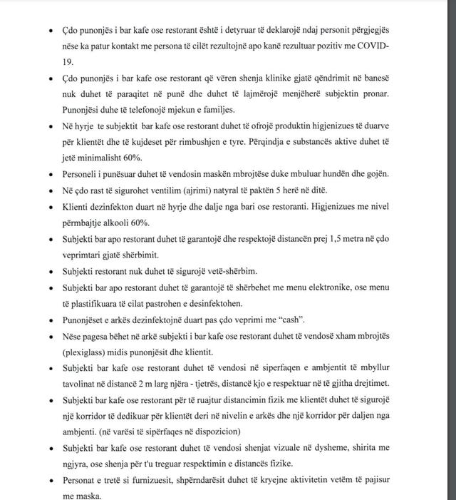 Hapen nga 1 tetori në ambientet e mbyllura: Këto janë rregullat