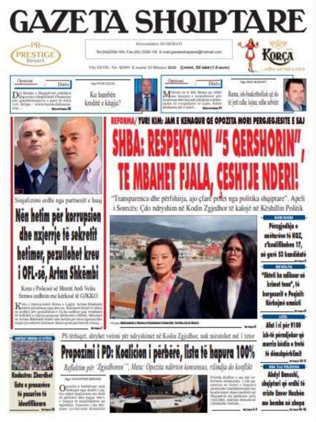 Shtypi/ Titujt kryesorë të gazetave për datën 29 shtator