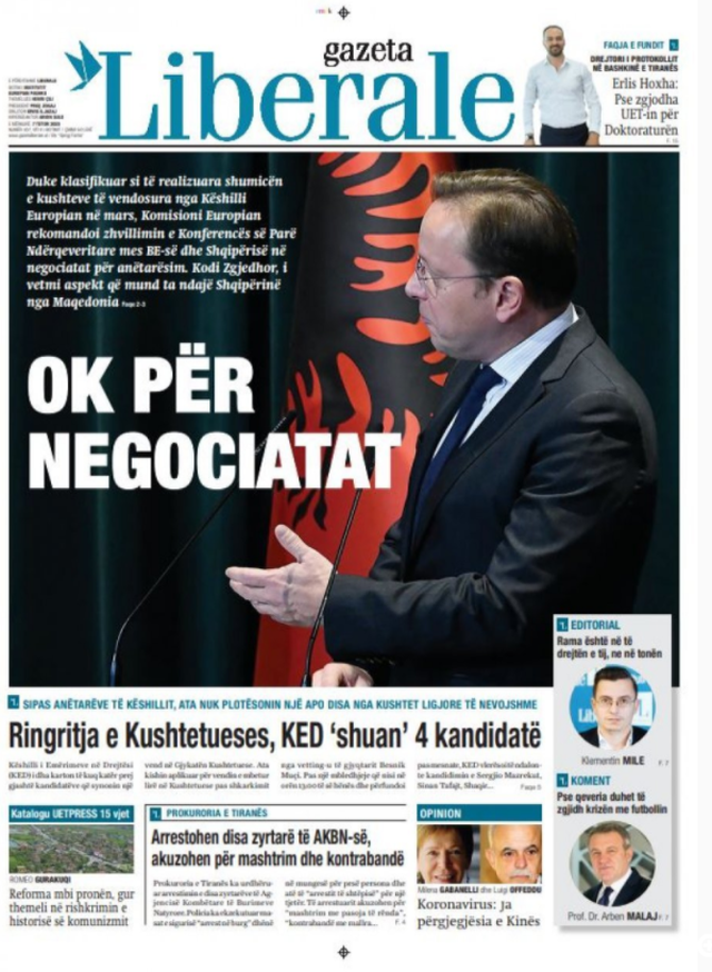 Shtypi/ Titujt kryesorë të gazetave për datën 7 tetor 2020