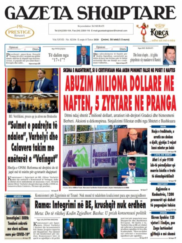 Shtypi/ Titujt kryesorë të gazetave për datën 8 tetor 2020