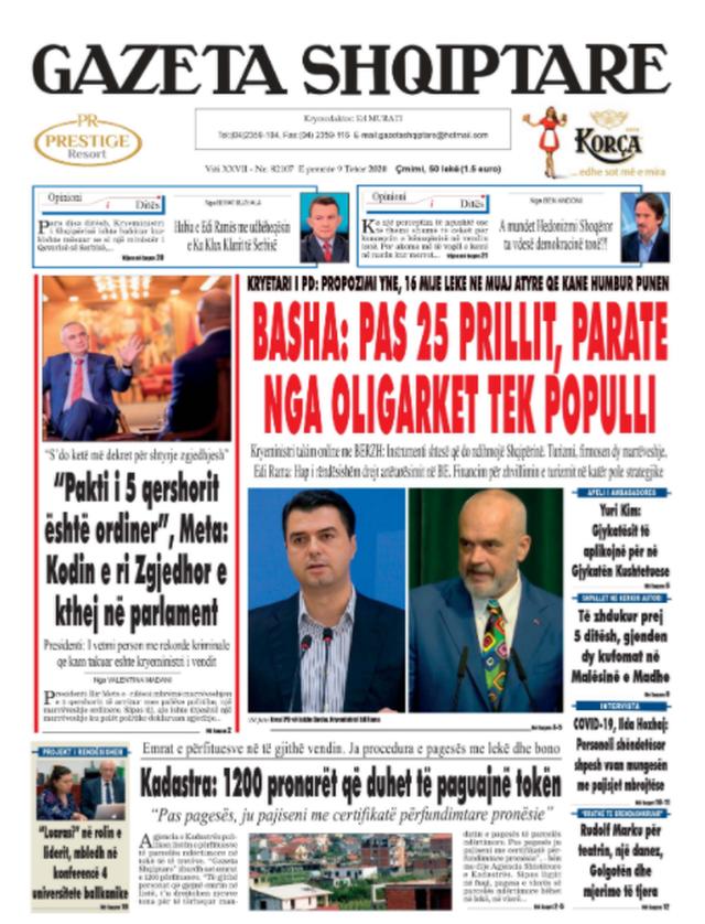 Shtypi/ Titujt kryesorë të gazetave për datën 9 tetor 2020
