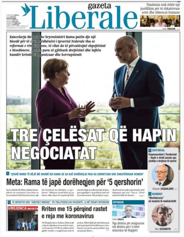 Kryetitulli i gazetave sot, biseda e Ramës me Merkel
