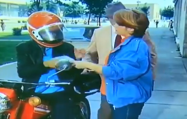 Joli Agolli, one of the rare girls who rode a motorcycle in the late `80s