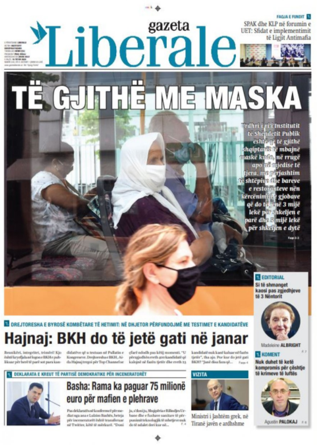 Vendosja e maskave kryetitulli i gazetave sot