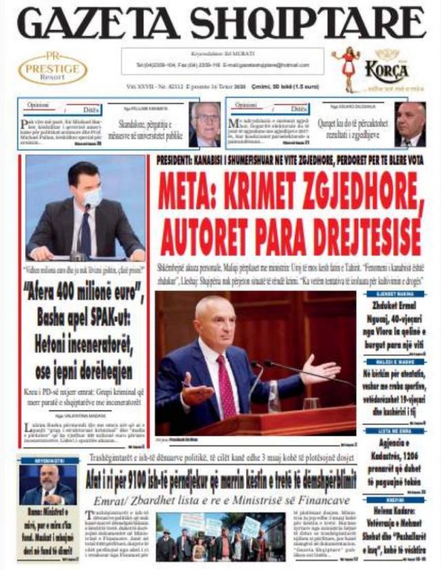 Shtypi/ Titujt kryesorë të gazetave për datën 16 tetor 2020
