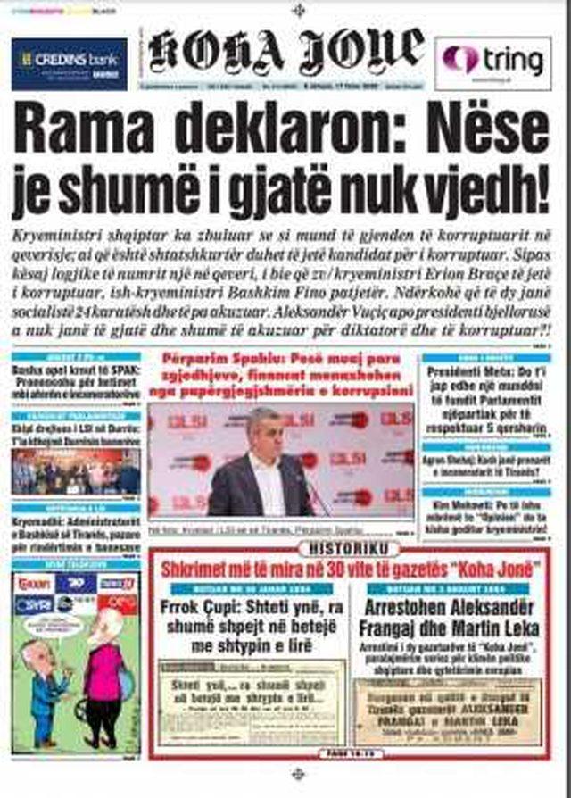 Shtypi/ Titujt kryesorë të gazetave për datën 17 tetor 2020