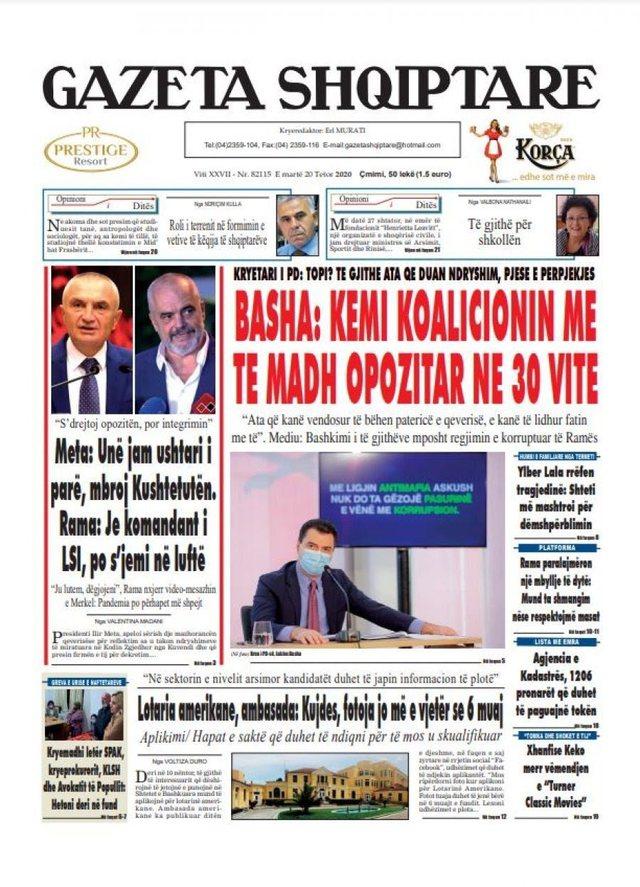 Shtypi/ Titujt kryesorë të gazetave për datën 20 tetor 2020