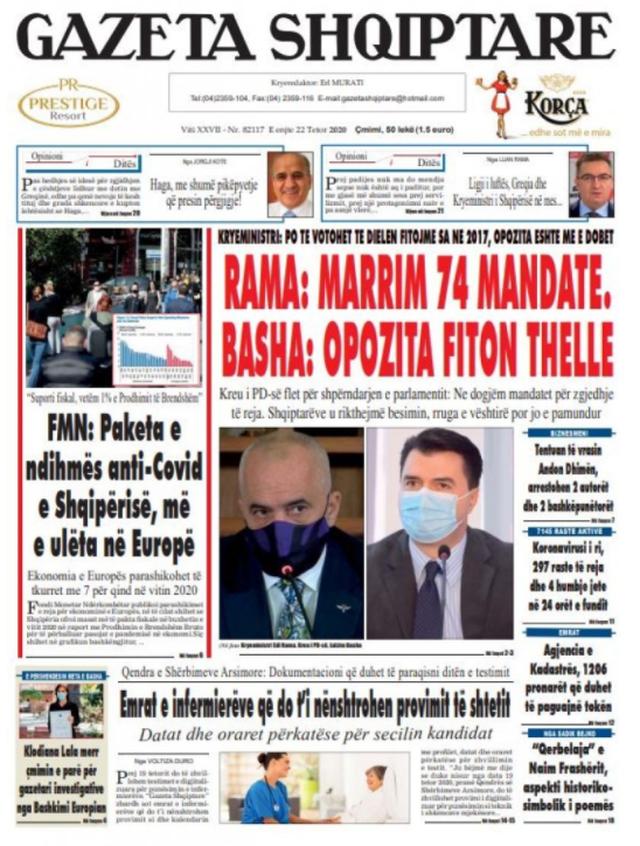 Shtypi/ Titujt kryesorë të gazetave për datën 22 tetor 2020