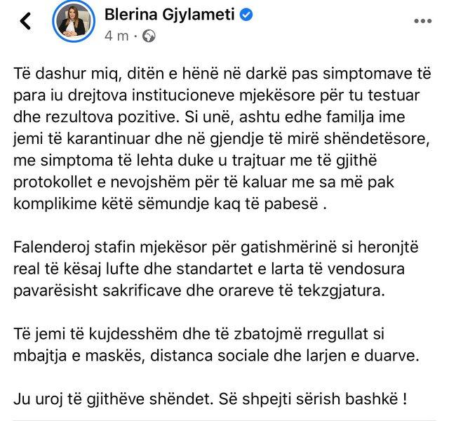 Reagon deputetja Blerina Gjylameti: Të hënën u konfirmova me