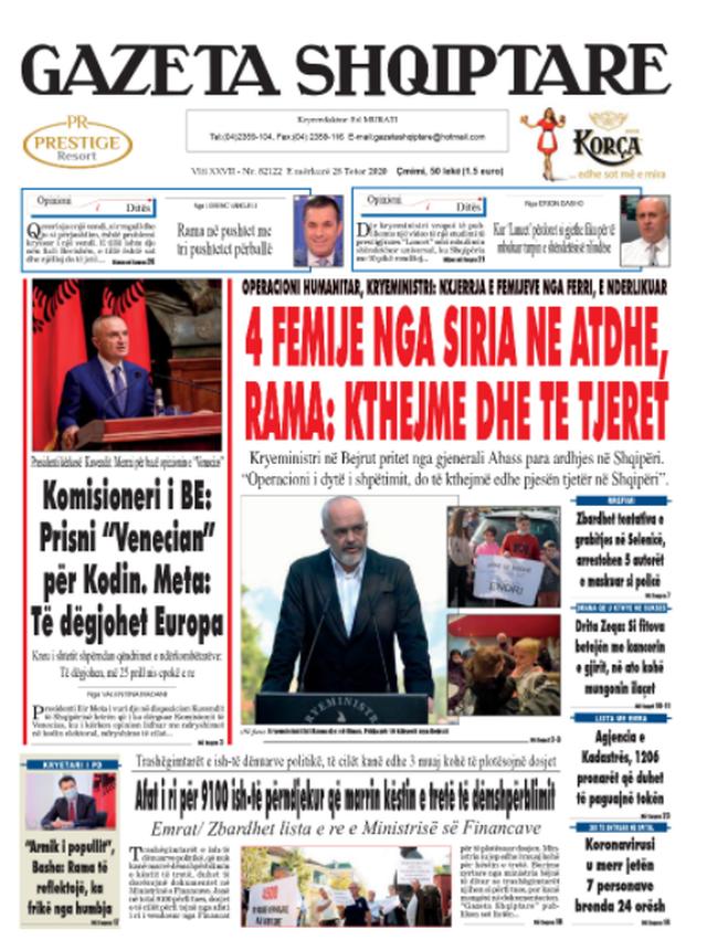 Shtypi/ Titujt kryesorë të gazetave për datën 28 tetor 2020