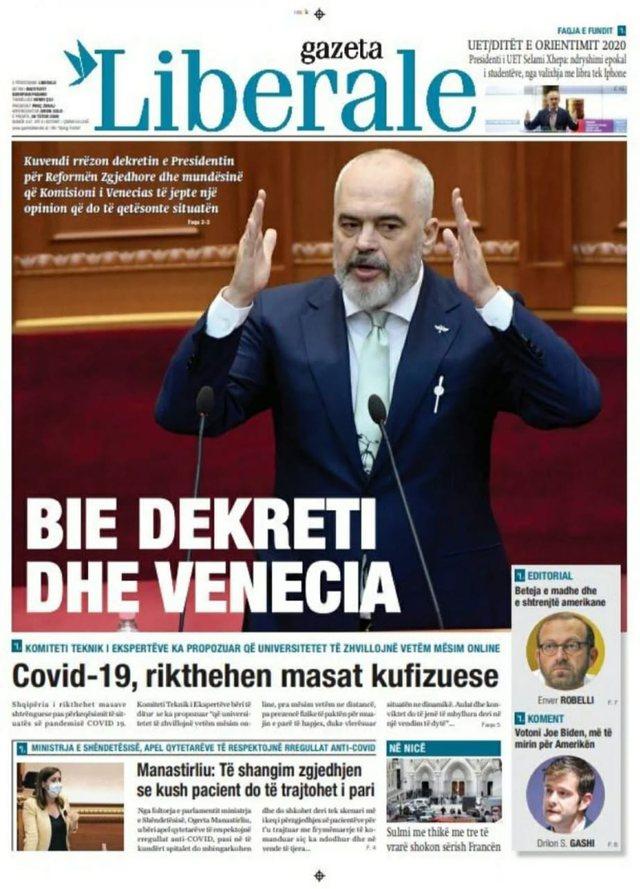 Rrëzimi i dekretit të presidentit, kryetitulli i gazetave sot