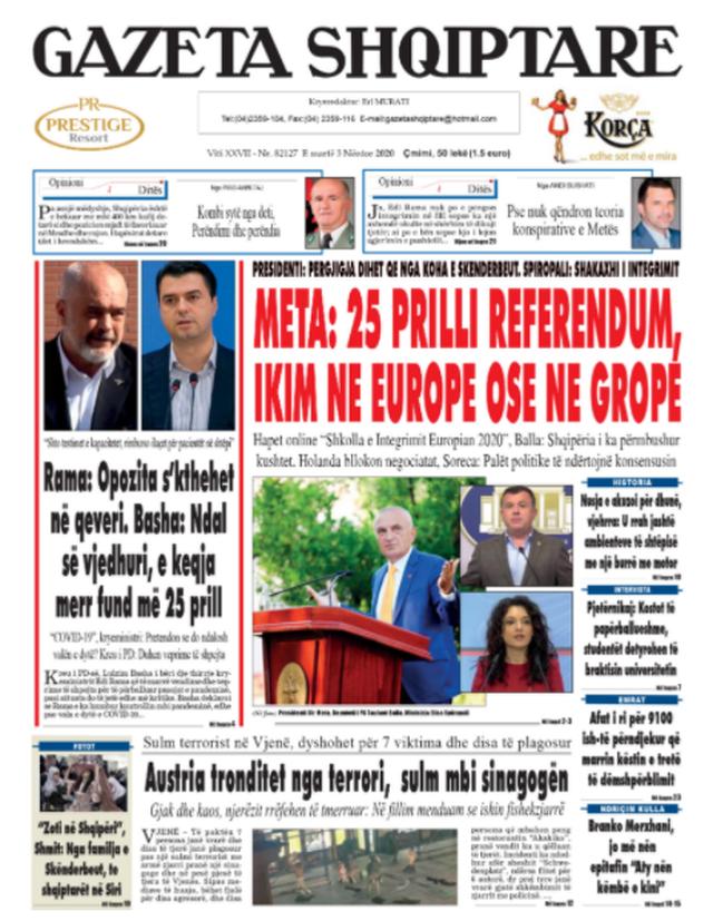 Shtypi/ Titujt kryesorë të gazetave për datën 3 nëntor