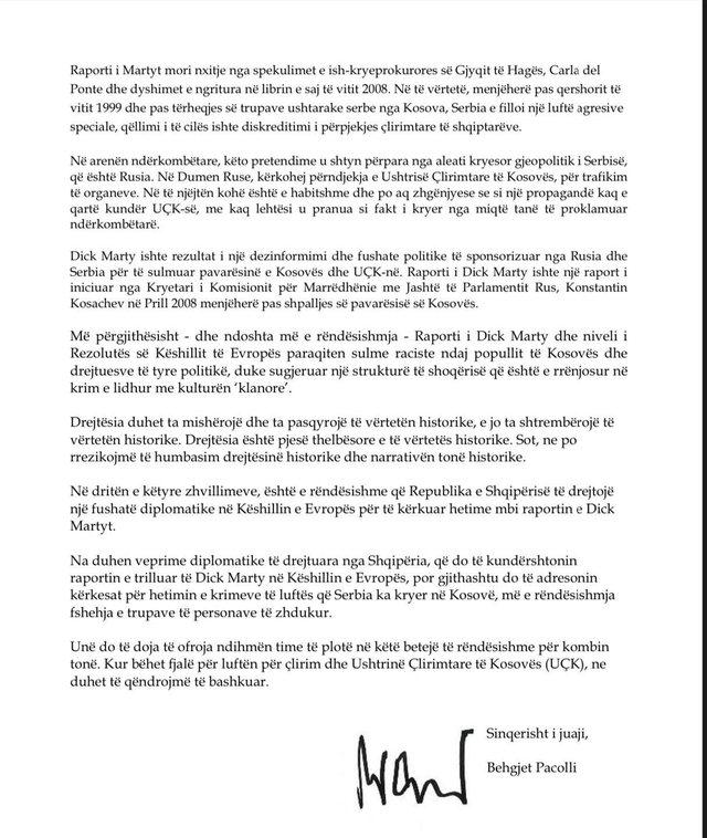 Behgjet Pacolli letër kryeministrit Rama: Të nisim betejën