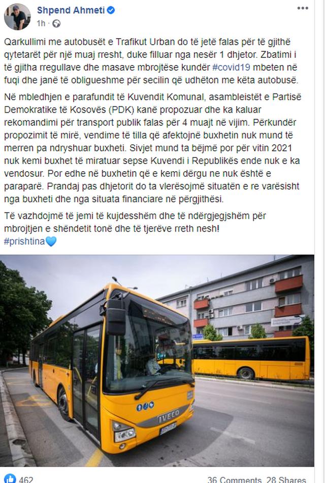 Banorët e Prishtinës nuk do paguajnë transportin publik për