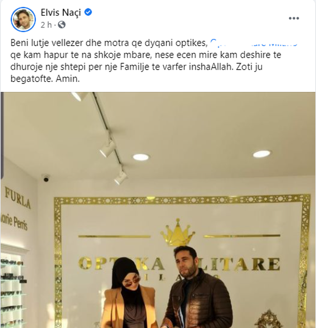 Elvis Naçi i futet biznesit. Hap dyqanin e syzeve optike