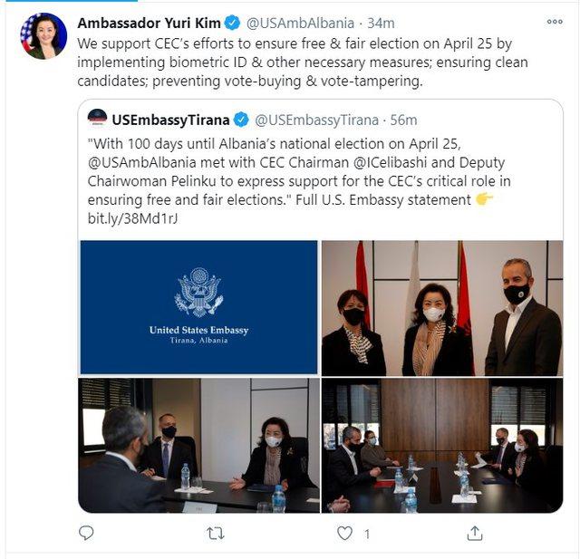 Ambasadorja Yuri Kim takon Celibashin dhe i kërkon të jetë