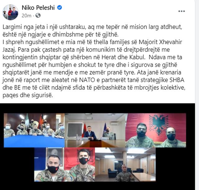 Ministri Peleshi për vdekjen e majorit në Afganistan: Ngjarje e