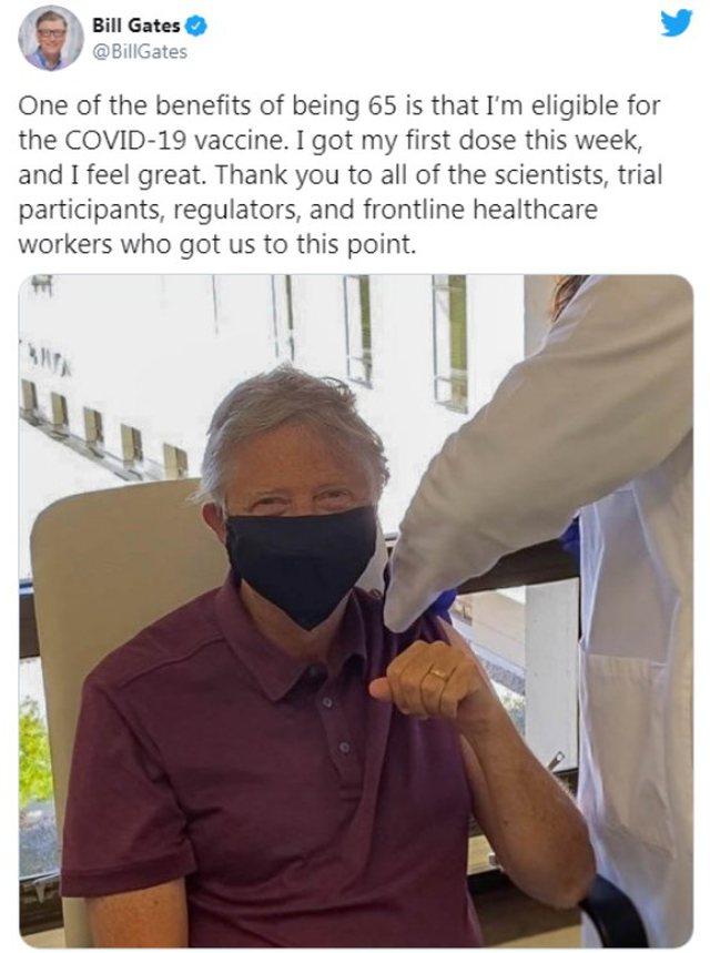 Bill Gates receives the first dose of the Covid-19 vaccine - Lajme nga Bota