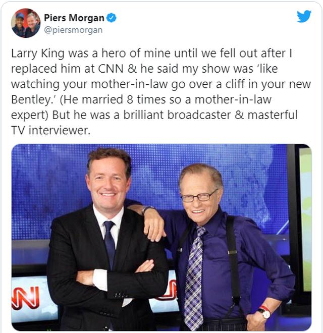 Statusi i Piers Morgan për vdekjen e Larry King u cilësua si i