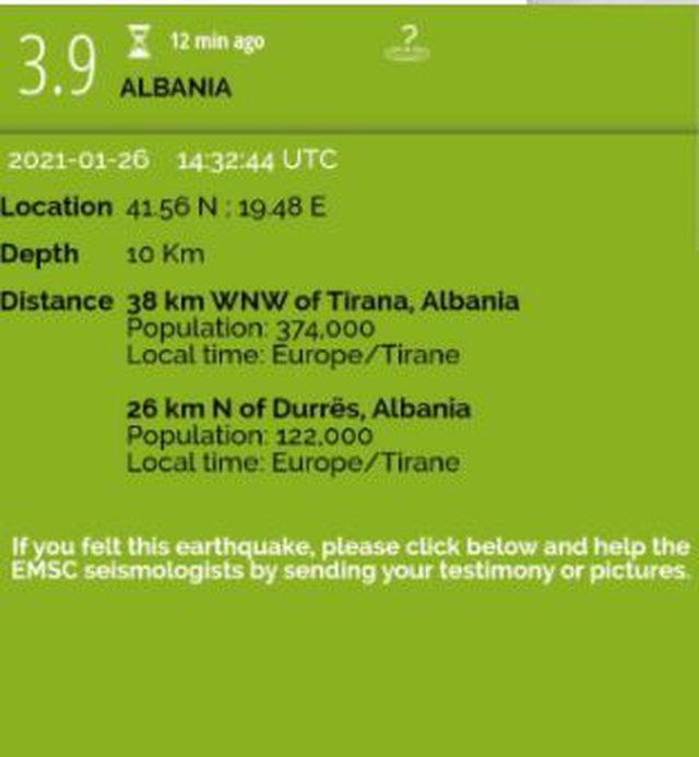 Lëkundje tërmeti në Shqipëri, magnituda dhe epiqendra