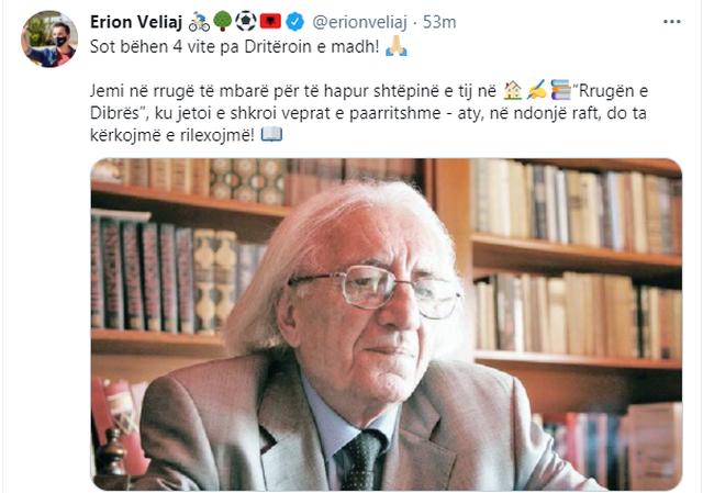 Veliaj përkujton Dritëro Agollin: Në rrugë të