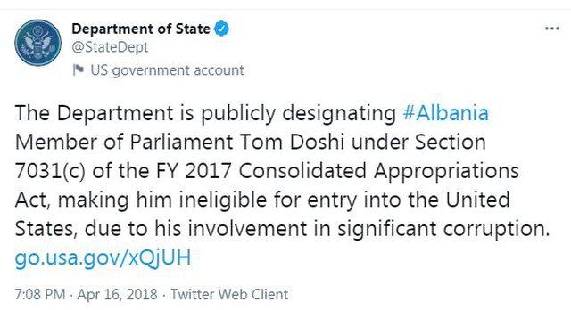 Ambasadorja amerikane drutë shkurt me Tom Doshin: Të mos