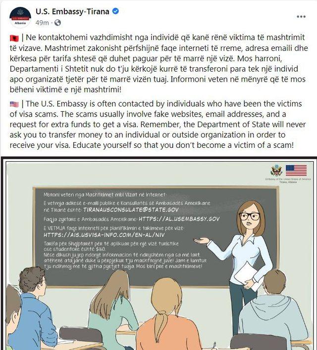Mos u mashtroni nga faqet e rreme për vizat amerikane, ambasada: Na