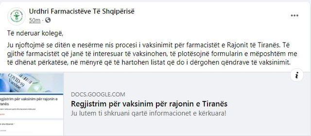 Nesër nis vaksinimi i farmacistëve në Tiranë me