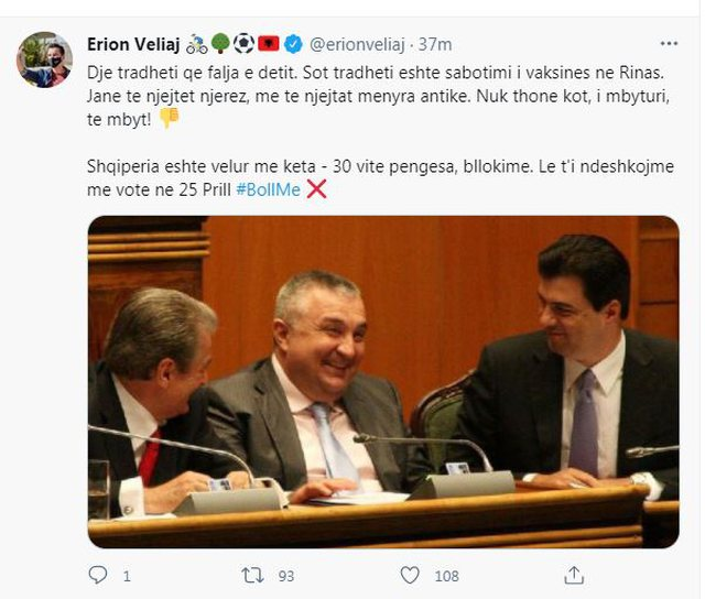 Drowned, Veliaj reacts to the situation in Rinas with a photo on Twitter: