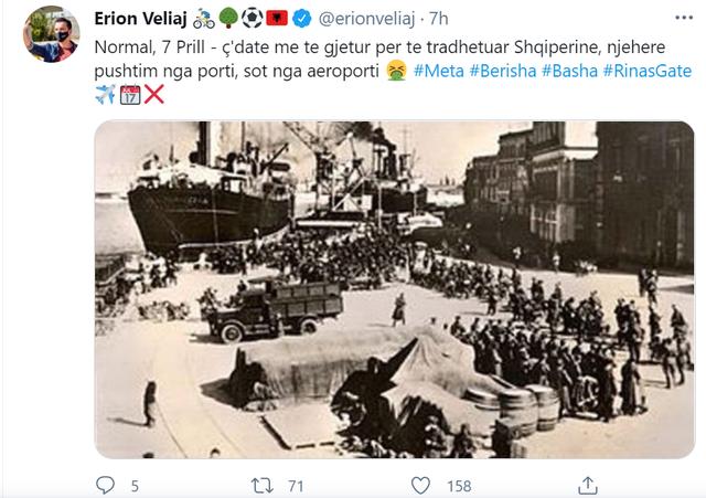 Veliaj e krahason me 7 prillin e pushtimit të Shqipërisë ngjarjen