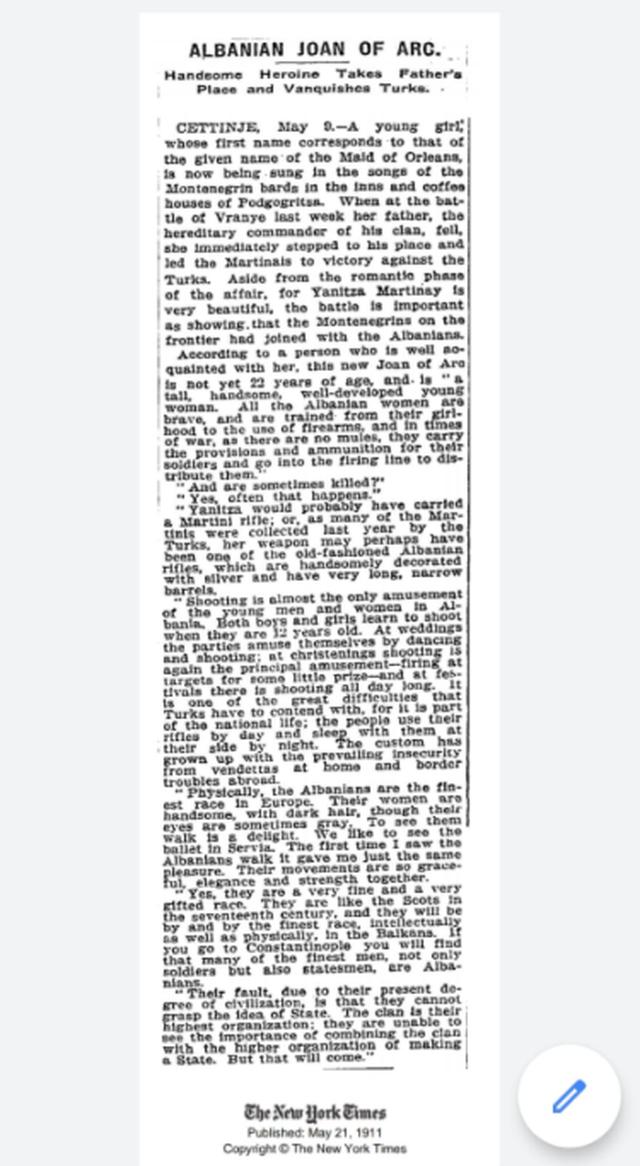 Kur vajzat shqiptare pushtonin gazetat franceze e amerikane të 1900-ës