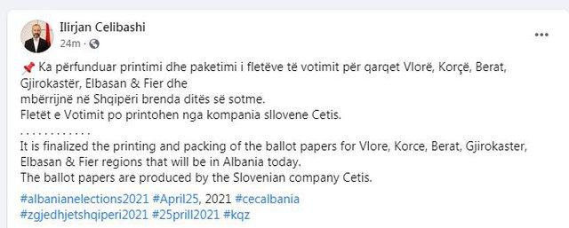 Zgjedhjet e 25 Prillit/ Sot mbërrijnë fletët e votimit për 6