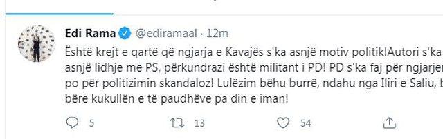 Rama: Autori i Kavajës militant i PD por PD s'ka faj për