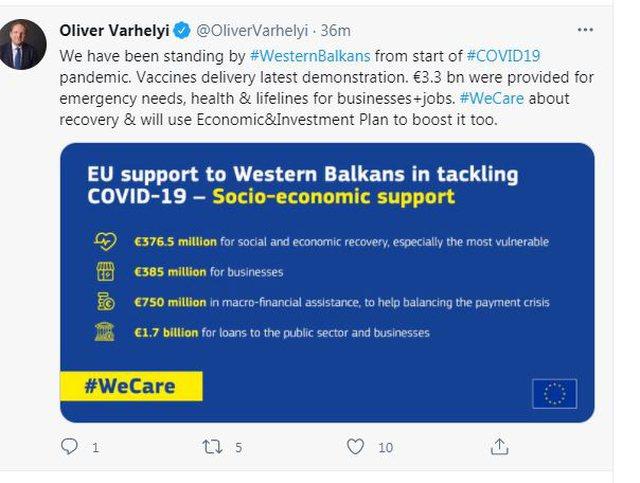 Varhelyi vjen nesër me vaksina në Tiranë: Do takohet me