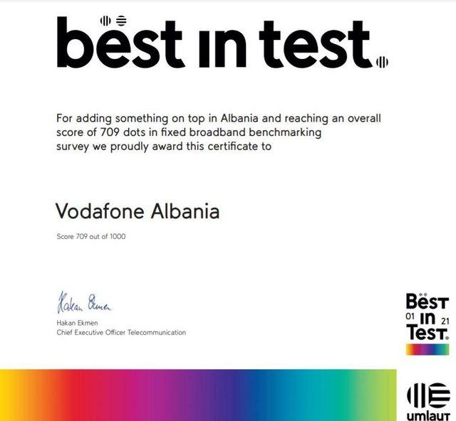 Umlaut vlerëson Vodafone Albania, rrjeti më i mirë fiks në