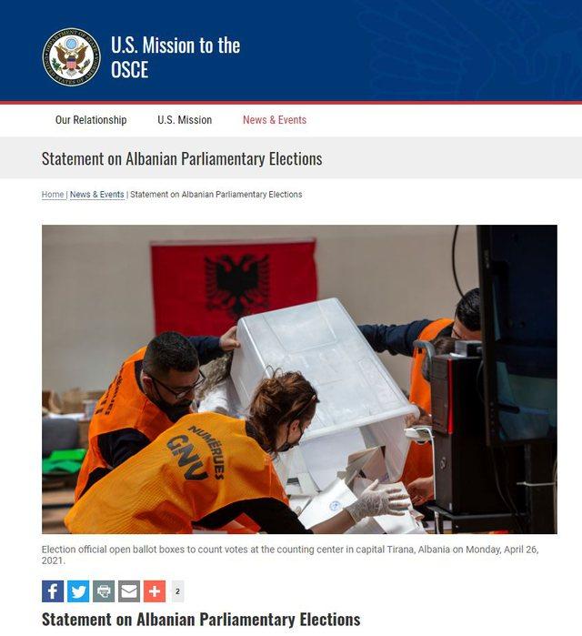 Misioni i SHBA-ve në OSBE për Zgjedhjet/ Nota 10 për KQZ,