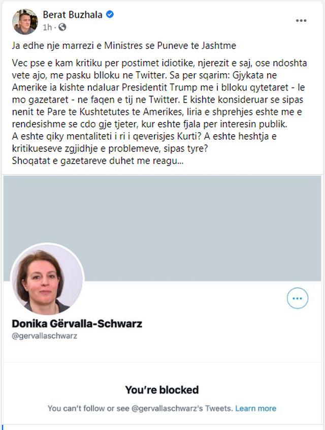 Ministrja e Jashtme e Kosovës i bën block gazetarit, reagimi i Berat