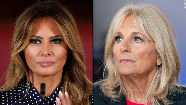A photo of Jill Biden that has also prompted a comparison with Melania Trump