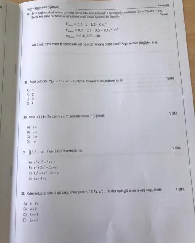The Mathematics test for high school graduates is completed without the exam