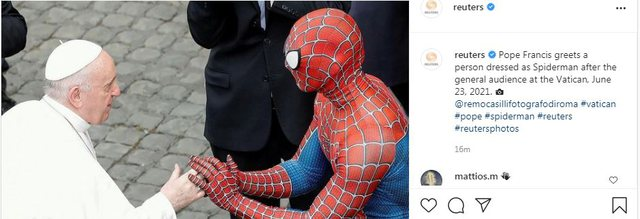 Pope Francis also meets Spiderman