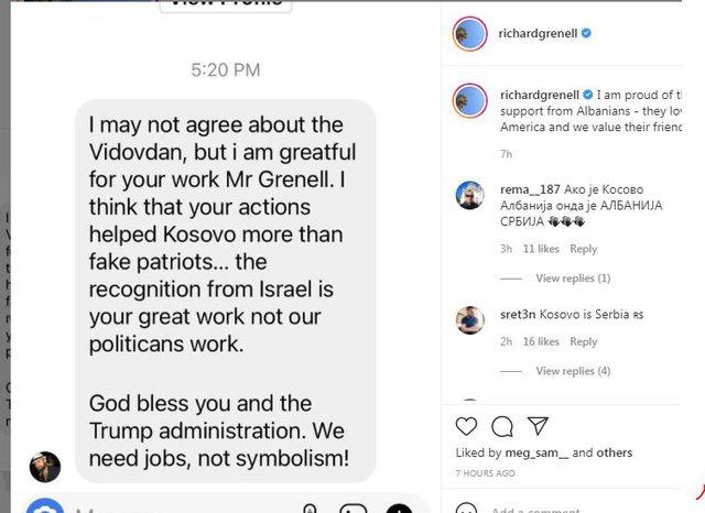 Richard Grenell kërcënohet me jetë, poston mesazhin që i ka
