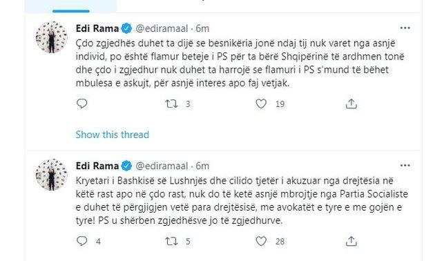 Edi Rama reagon për kryebashkiakun socialist në SPAK: Asnjë