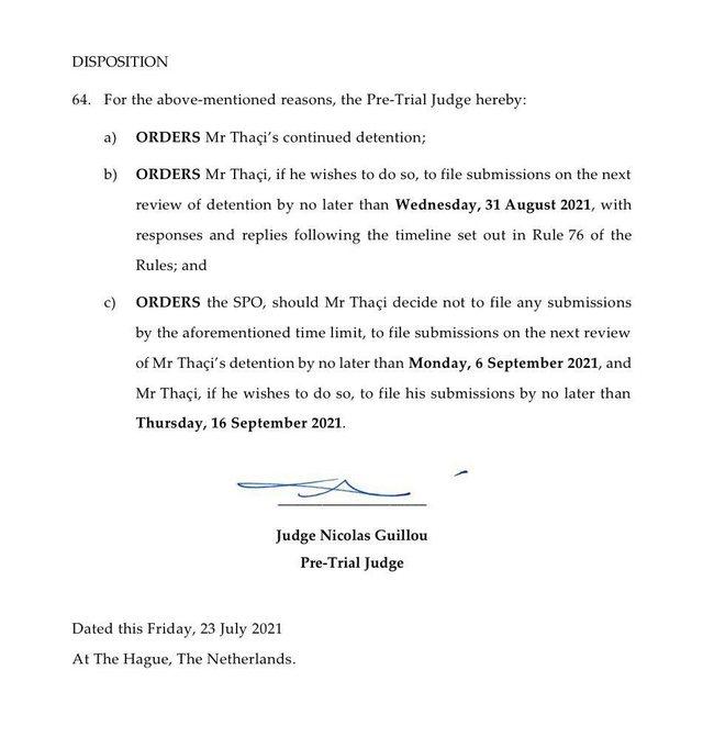 Haga i refuzon Thaçit kërkesën për t'u gjykuar