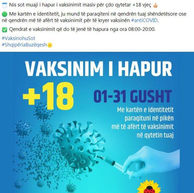 Nis sot muaji i hapur i vaksinimit për të gjithë qytetarët
