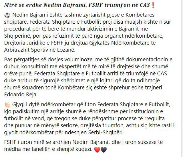 FSHF wins the battle in CAS, Nedim Bajrami will play with the National Team