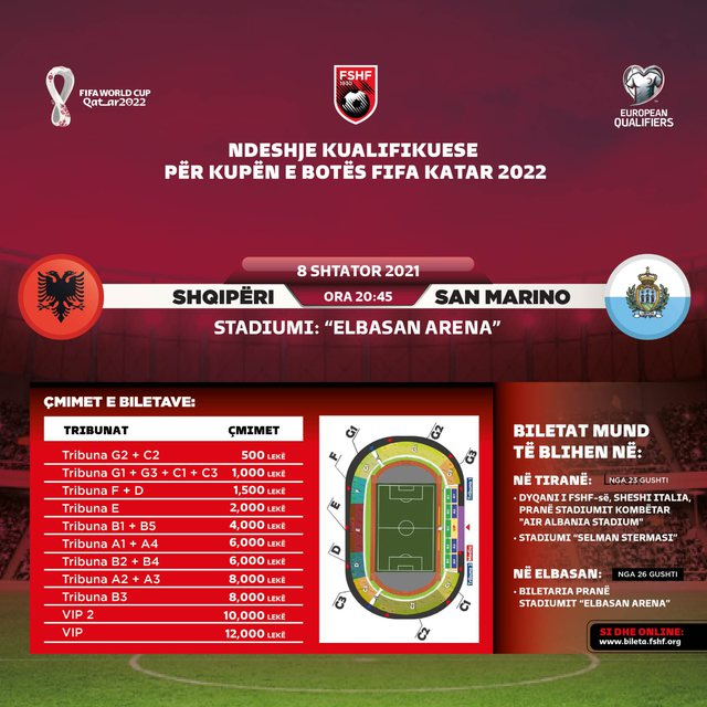 Match with San Marino in Elbasan Arena: Ticket price and how much does the seat